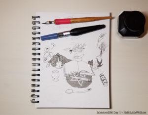 kitchen witch altar drawn in ink