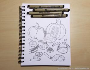 Ingredients for a pumpkin milkshake drawn in ink