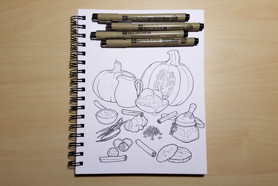 Drawing of the ingredients for a pumpkin pie milkshake!