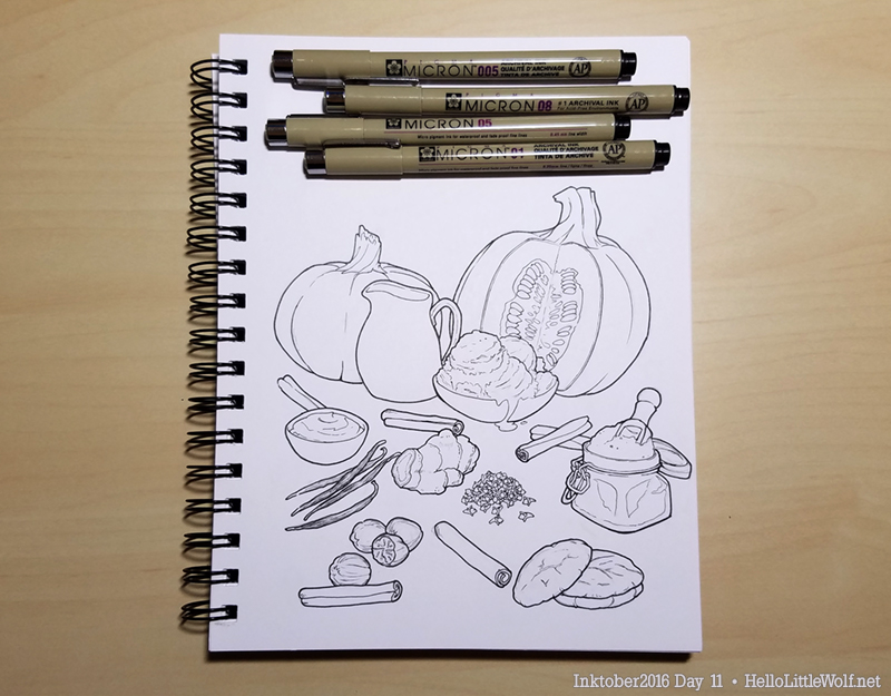 Ingredients for a pumpkin milkshake drawn in ink