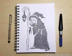 Old hag witch drawn in ink
