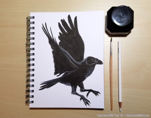 Raven drawn in ink