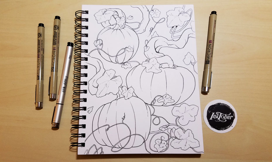 Picture of an ink drawing of some pumpkins