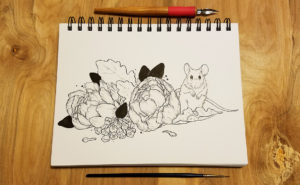 Ink drawing of a mouse next to some flowers