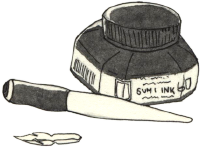 Drawing of pen nib, nib holder and ink bottle