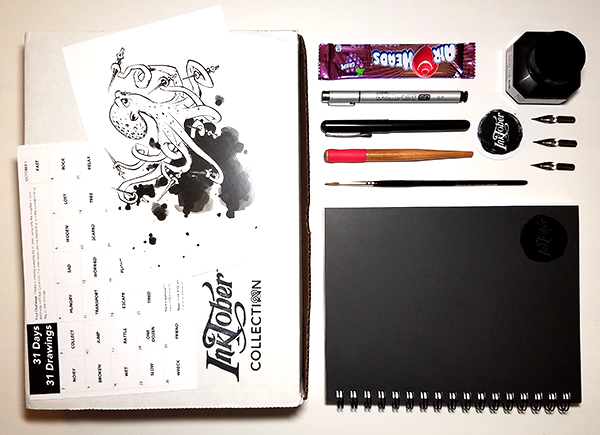 Picture of everything included in the Artsnacks Inktober Collection Box