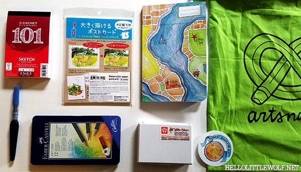 Picture of the items contained in the Artsnack 2016 Travel Collection Box