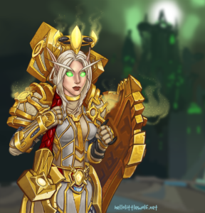 Maleficence, a Blood Elf Paladin from the game World of Warcraft
