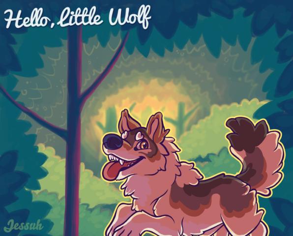 2014. The original Hello Little Wolf illustration.