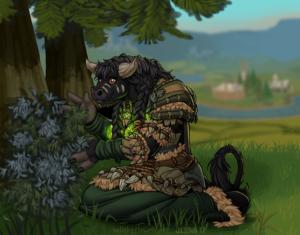 Tauren shaman picking Silverleaf in sunny Mulgore
