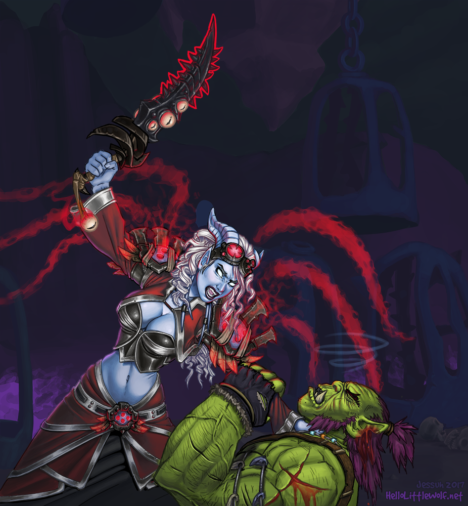 Draenei priest about to sacrifice an orc